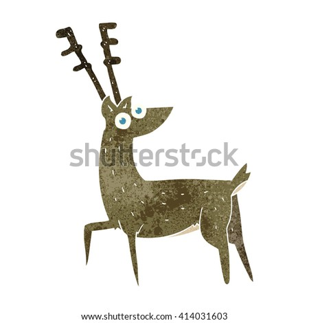 freehand retro cartoon stag - stock vector