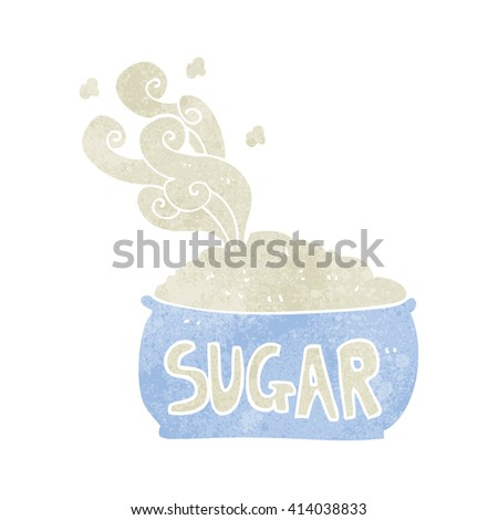 freehand retro cartoon sugar bowl - stock vector