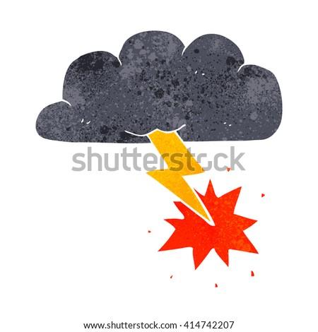 freehand retro cartoon thundercloud - stock vector