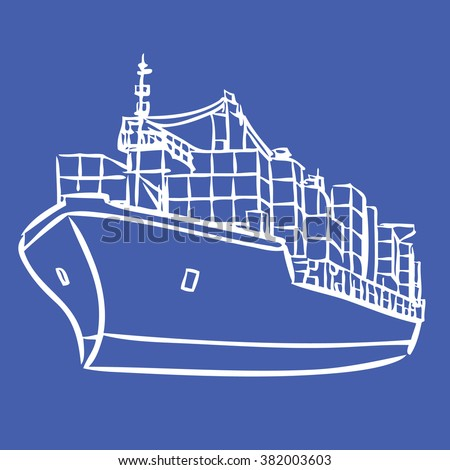 freehand sketch illustration of Cargo ship with containers icon, doodle hand drawn - stock vector