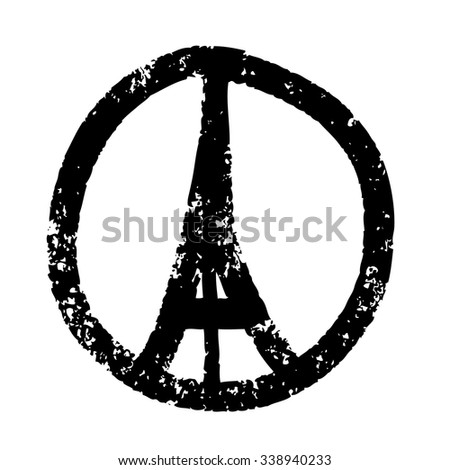 Freehand sketch  illustration of pray hands and  Eiffel Tower ,Paris on white background, doodle hand drawn, Peace for Paris, Pray for Paris - stock vector