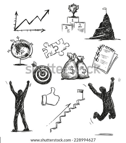 Freehand sketch of success symbols. Success icons. Vector illustration.  - stock vector