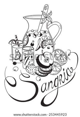 Freehand sketch style drawing of pitcher of sangria, two glasses, various fruits and hand written lettering. Vector detailed illustration isolated on white background - stock vector