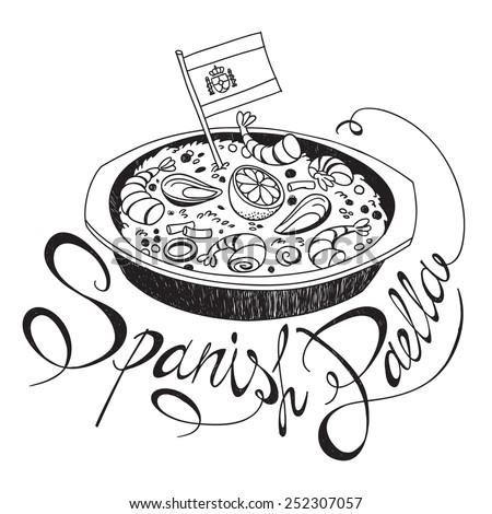 Freehand sketch style drawing of seafood paella pan with Spanish flag and hand written lettering. Vector illustration isolated on white background - stock vector