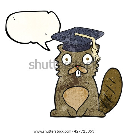 freehand speech bubble textured cartoon beaver graduate - stock vector