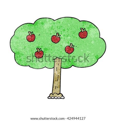 freehand textured cartoon apple tree - stock vector