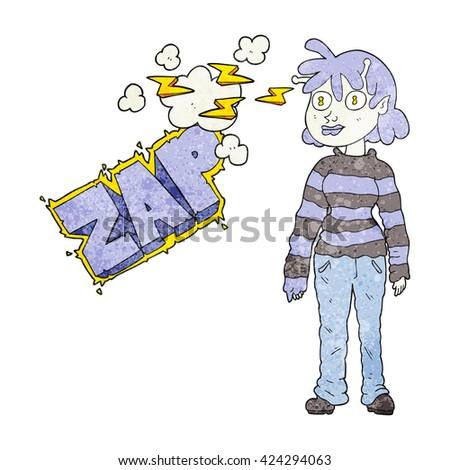 freehand textured cartoon casual alien girl using telepathy - stock vector