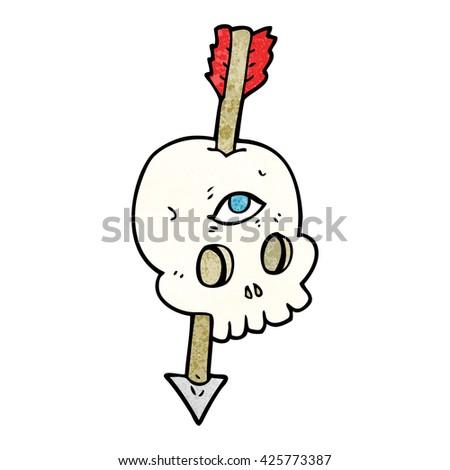 freehand textured cartoon magic skull with arrow through brain - stock vector