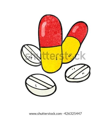 freehand textured cartoon pills - stock vector