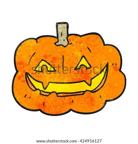 freehand textured cartoon spooky pumpkin - stock vector