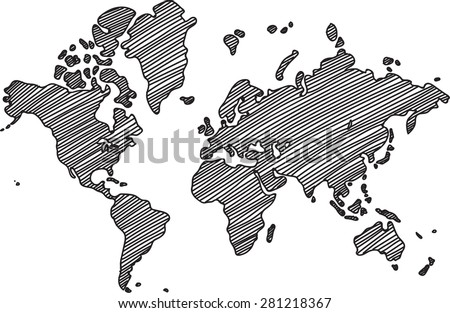 Freehand world map sketch on white background. - stock vector