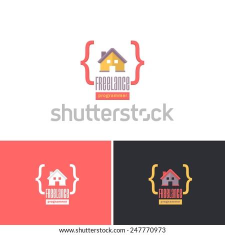 Freelance Programmer, Home Office Concept Vector Icons Design, Logos Shape, Sign, Symbol Template - stock vector