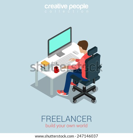 Freelancer at work flat 3d web isometric infographic concept vector. Build your own world creative people collection. - stock vector