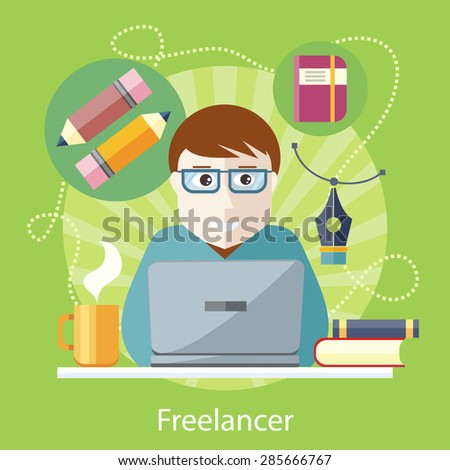Freelancer, copywriter, journalist writing at the computer on the stylish colored background. Activity field of freelancer. Flat design cartoon style for web design, analytic, graphic design  - stock vector