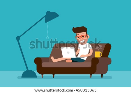 Freelancer working at home with laptop computer on cozy sofa. - stock vector