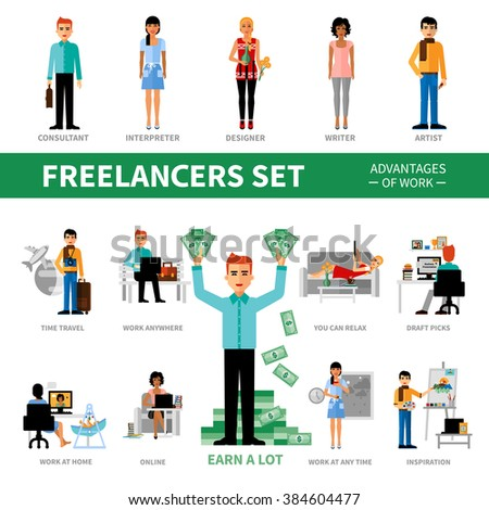 Freelancers set with advantages of work including icons of specialists vector  illustration - stock vector