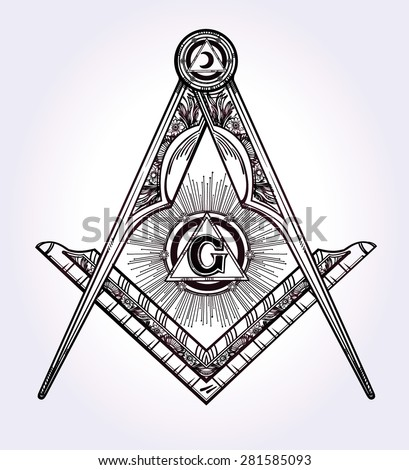 Freemasonry emblem, masonic square compass God symbol. Trendy alchemy element. Religion philosophy, spirituality, occultism, chemistry, science, magic. Design tattoo art. Isolated vector illustration. - stock vector