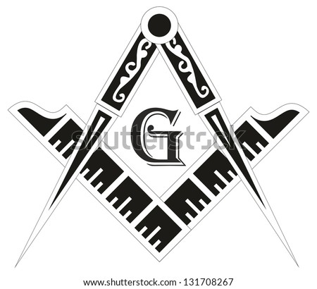 Freemasonry emblem - the masonic square and compass symbol, vector illustration - stock vector