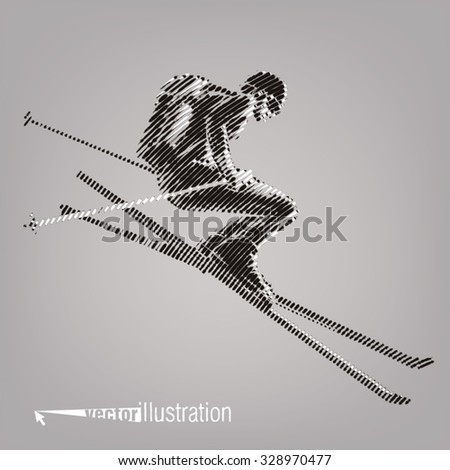 Freerider is skiing. Vector artwork in the style of ink drawing - stock vector
