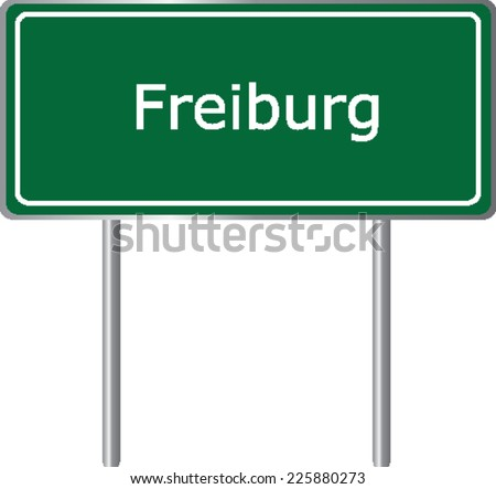 Freiburg , Germany , road sign green vector illustration, road table - stock vector