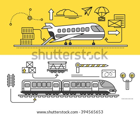 Freight Forwarding by air and rail by train. Transport delivery, shipping import industry, distribution and logistic, export railway transportation. Set of thin, lines, outline flat icons - stock vector