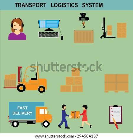 Freight transportation and delivery logistics flat icons set with international operator complex service abstract isolated vector illustration - stock vector