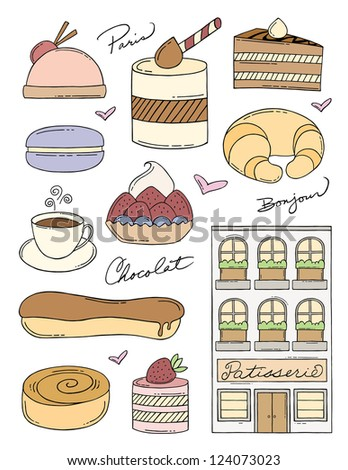 French Bakery Doodles - stock vector