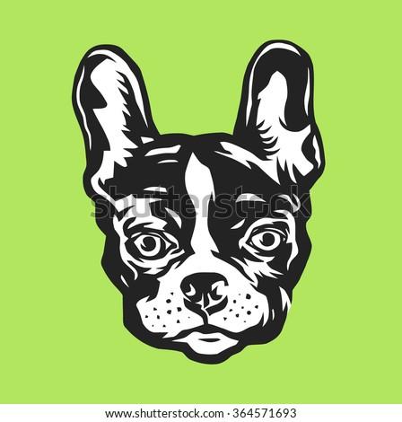 French bulldog portrait. Vector illustration. - stock vector