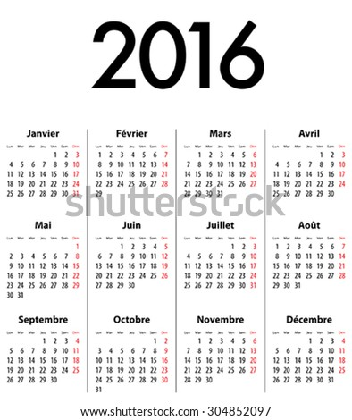 French Calendar grid for 2016. Mondays first. Vector illustration - stock vector