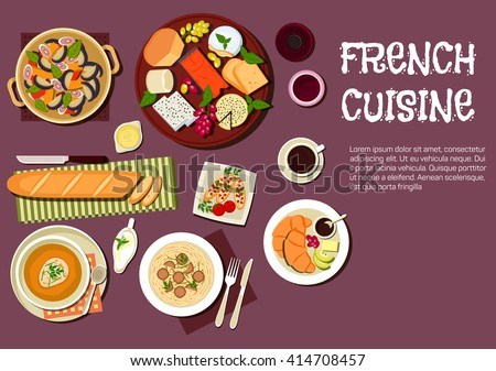 French cheese plate served with grapes and herbs icon, supplemented by baguette, tomato toasts, fig salad, onion soup with cheesy crouton, pasta, topped with truffles, croissants with cup of coffee - stock vector