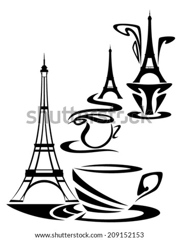 French coffee time design - elegant cup of hot chocolate or tea with eiffel tower vector illustration set - stock vector