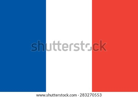 French flag. Official state symbol of the Republic of France. Government specification. True colors, sizes and proportions. Can be used for political articles and maps. - stock vector