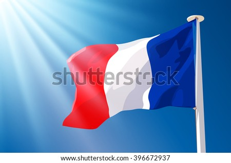 French flag on blue sky background with sunlight - stock vector