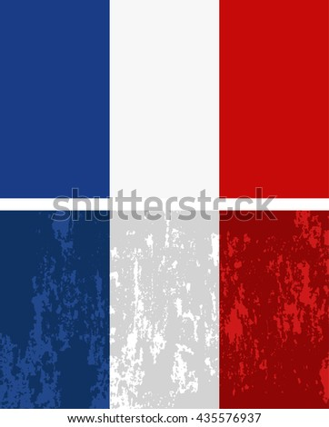 French flag with grunge effect. Vector image - stock vector