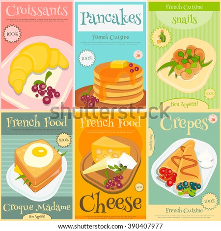 French Food Menu Mini Posters Set with Traditional Meal. Vector Illustration. - stock vector