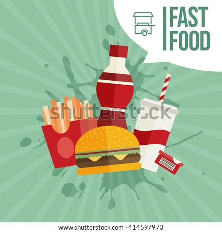 French fries, humburger and soda takeaway vector background. Fast food flat design - stock vector