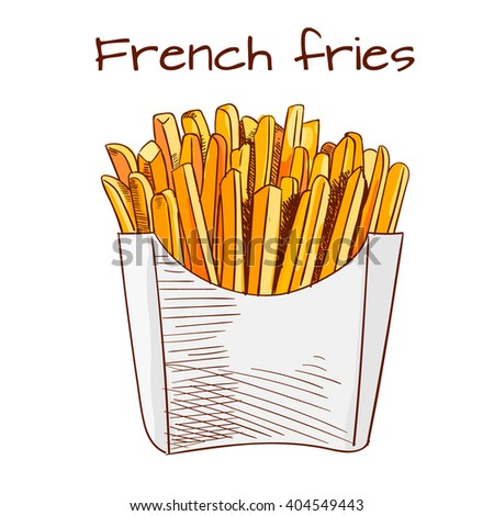 French Fries sketch, hand drawn fast food VECTOR illustration. Colorful sketch. - stock vector