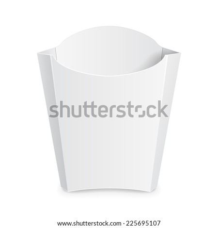 French Fries White Paper Box. On White Background Isolated. Ready For Your Design. Product Packing Vector EPS10 - stock vector
