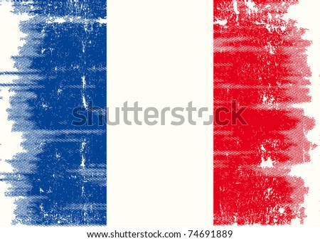 French grunge flag A french flag with a texture - stock vector