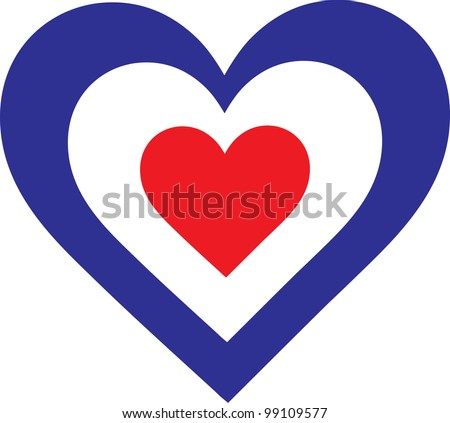 French Heart  A concentric, heart shaped design, with national symbolism evocative of France. - stock vector