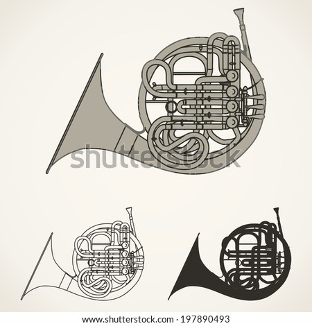 french horn vector - stock vector