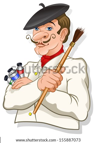 French inspired artist with a brush and color tubes - vector - stock vector