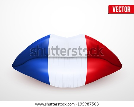 French kiss. Beautiful luscious lips with flag of France texture. Vector Illustration. Isolated on white - stock vector