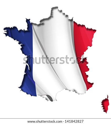 French map cut-out, highly detailed on the edge's shading, with a waving flags underneath. The Settle thickness on the cut-out border follows the inner shadow's light source. - stock vector