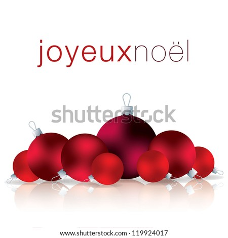 French Merry Christmas bauble card in vector format. - stock vector