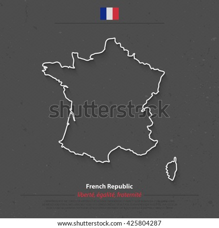 French Republic map outline and official flag icon over grunge background. vector France political map 3d illustration. European State geographic banner template. Corsica island vector - stock vector
