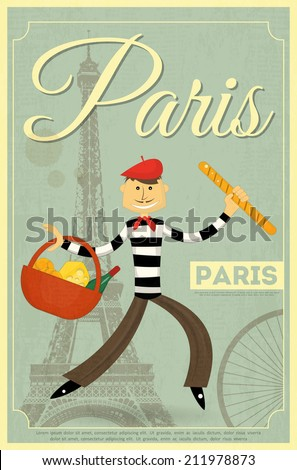 French Retro Card - Frenchman with Basket and Baguette on Background of Eiffel Tower. Vector illustration. - stock vector