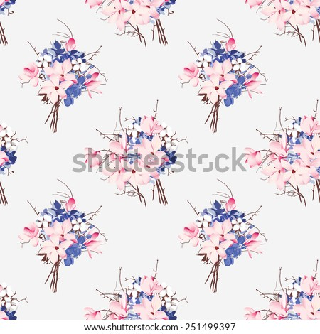 French style seamless vector pattern Magnolia, hydrangea, cotton, orchid  - stock vector