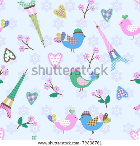 French styled pattern with birds, hearts and Eiffel. Blue. Vector seamless. - stock vector