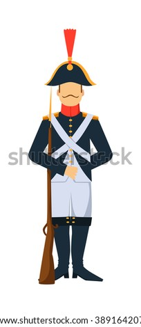 French troop old style armed forces man with weapon illustration. French  guard troop soldier with gun. French troop man in uniform with weapon isolated on white background. French Old Army - stock vector
